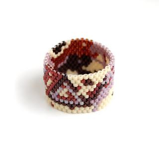 женские широкие кольца из бисера купить современную бижутерию