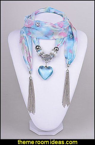 Chiffon Scarf necklace Aquamarine Heart Pendant Scarf Necklace with tassels
