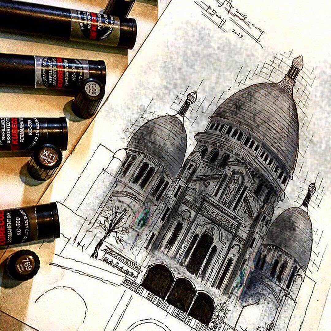 09-Basilique-du-Sacre-Coeur-Erfan-Hasankhani-Ink-and-Color-Architectural-Drawings-www-designstack-co