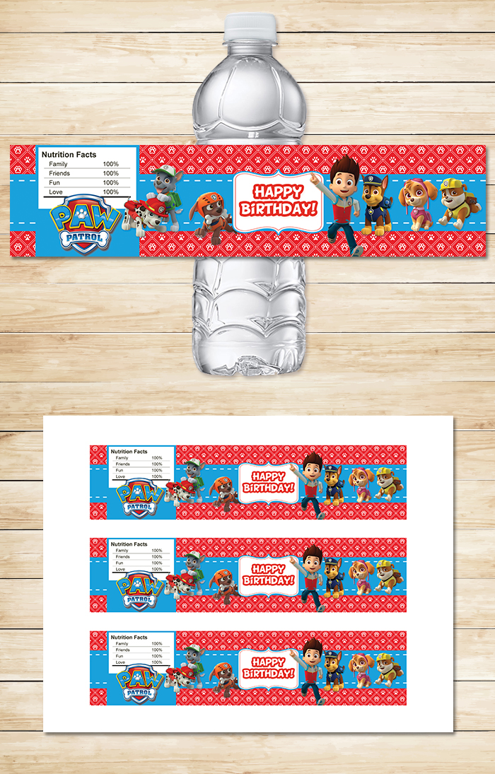 Free Printable Paw Patrol Water Bottle Labels | Red Bg Theme