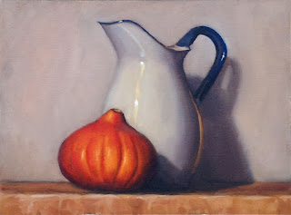 Oil painting of an blue and white enamelware pitcher beside an orange pumpkin.