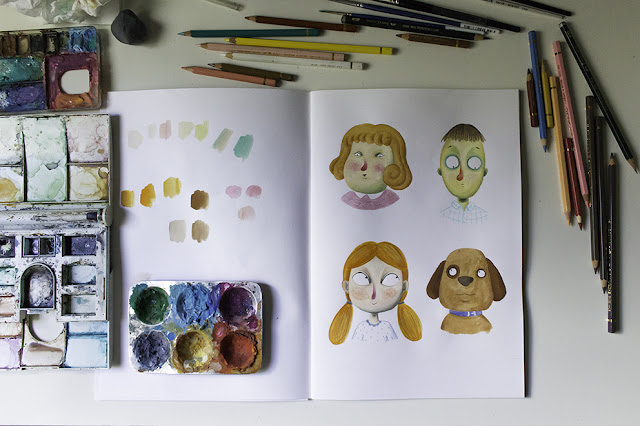 Personajes, experimentos con gouache y lapices, personajes, diseño de personajes, paletas de color, ilustracion infantil, Mar Villar,