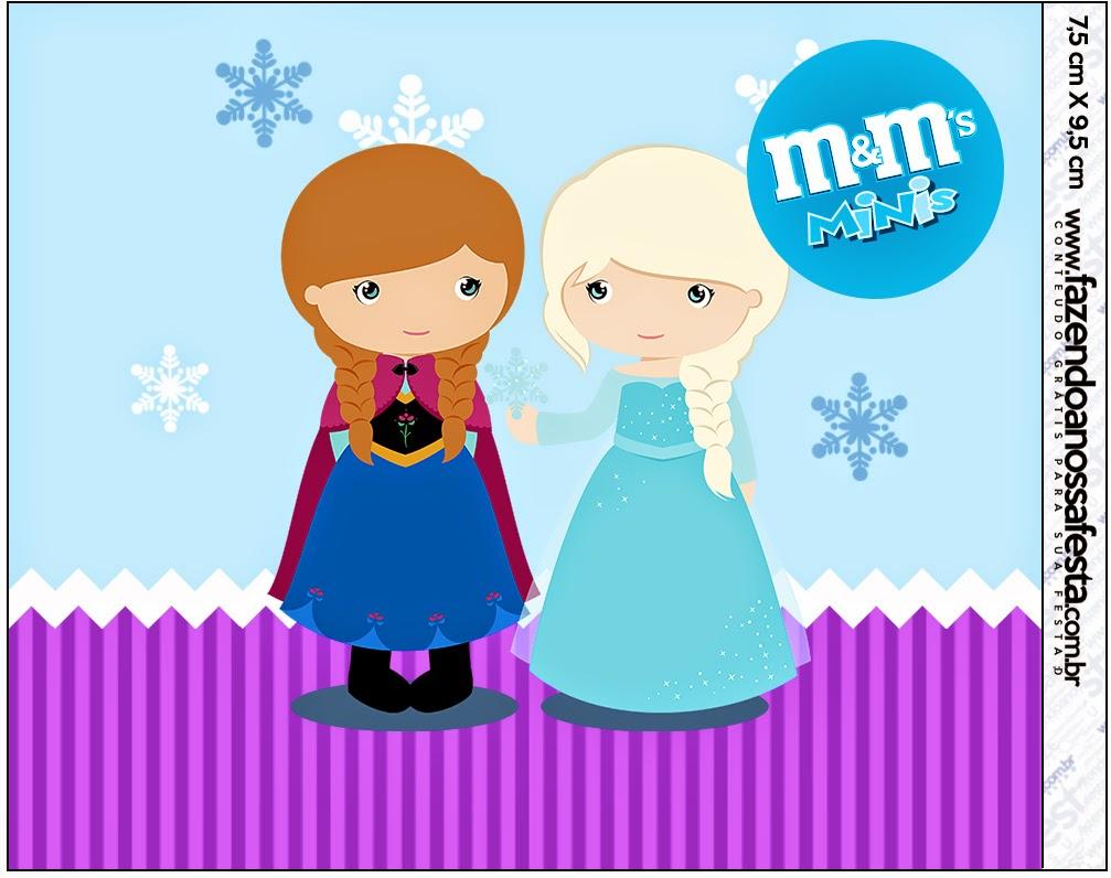 Etiqueta M&M de Frozen Niñas en Navidad para imprimir gratis.