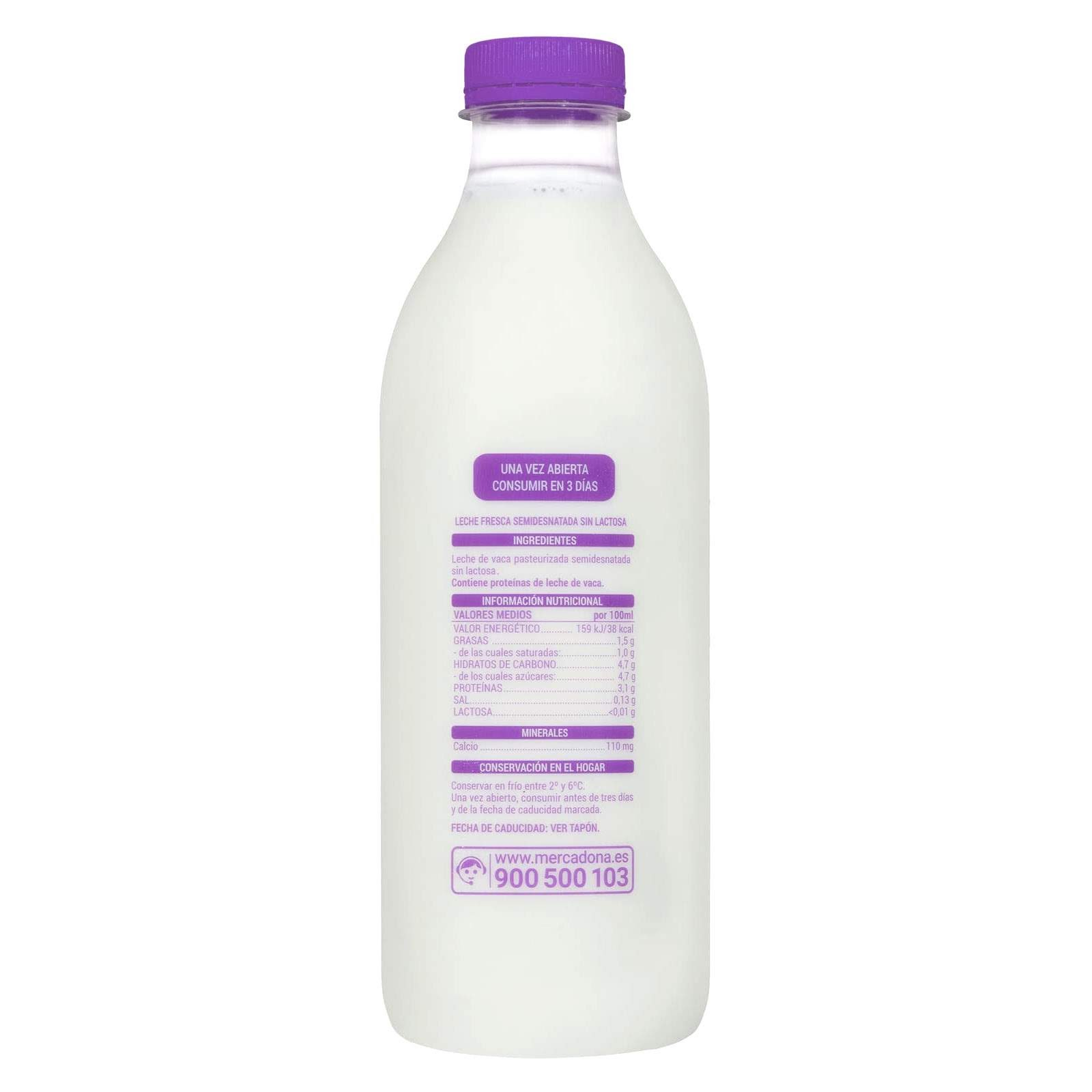 Leche fresca sin lactosa semidesnatada Hacendado
