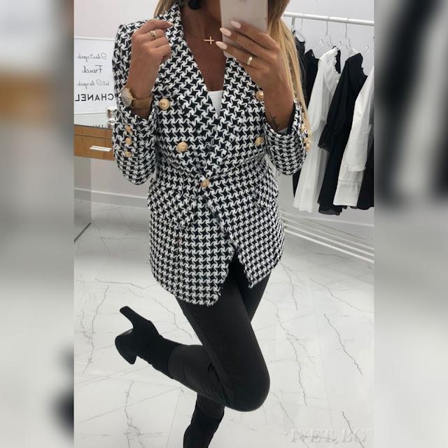Μεσάτο   μαύρο - άσπρο γυναικείο σακάκι HADEN