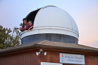 Image of Students Prepare to Observe at the Observatory.