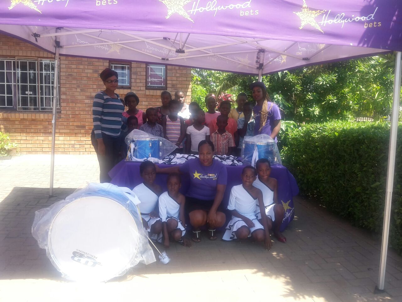 The kids and staff at Children of the Dawn Mangweni are grateful for a donation of musical instruments and books from Hollywoodbets Kinross