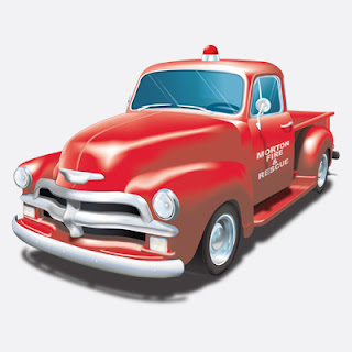 Illustration of 54 Fire Dept. Chevy Pickup