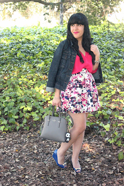 Jean Jacket and Floral Skirt Girly Spring Outfit