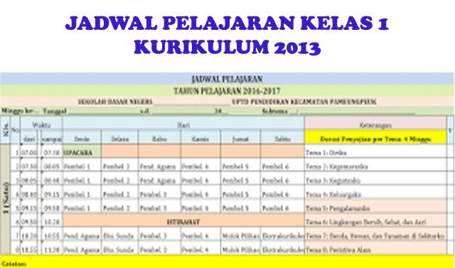 Jadwal Pelajaran Kelas 1 (Satu) Kurikulum 2013