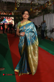 Actress Indraja Stills in Blue Silk Saree at Shatamanam Bhavathi Audio Launch  0041.JPG