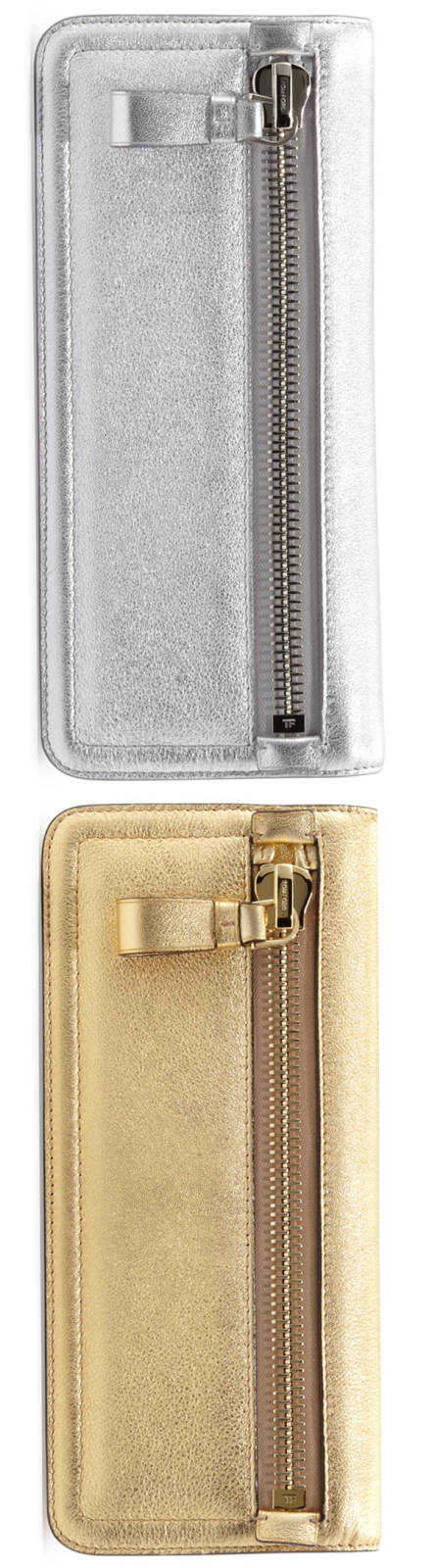 Tom Ford Jennifer Metallic Zip Clutch Bag