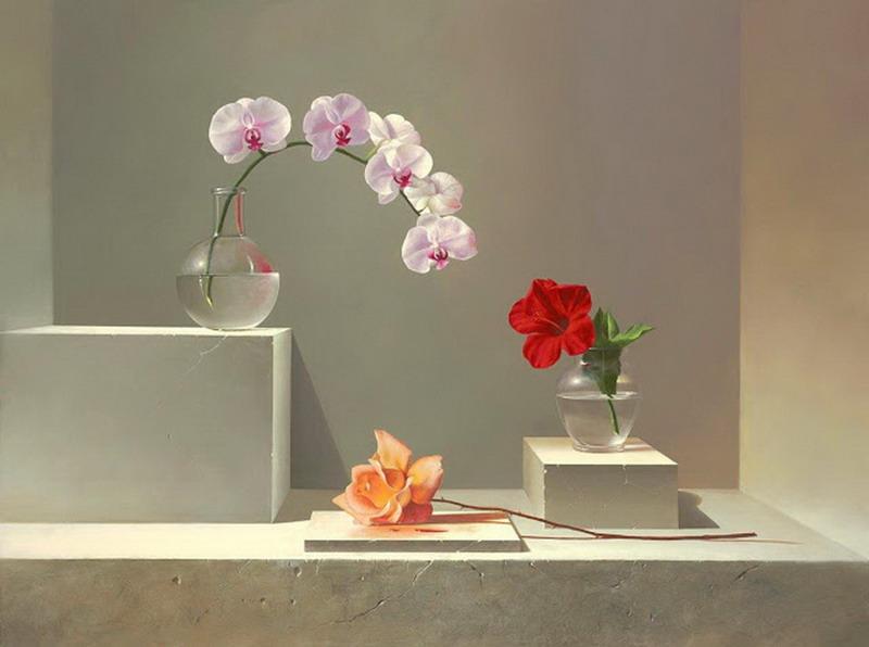 Cuadros modernos floreros con flores naturales pintura - Floreros modernos ...