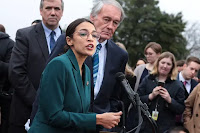 Markey and Ocasio-Cortez hold a news conference to unveil their Green New Deal resolution. (Credit: Alex Wong/Getty Images) Click to Enlarge.