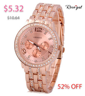 Rosegal GENEVA Quartz Watch with Diamonds Round Dial and Steel Watch Band for Women - Rose Gold