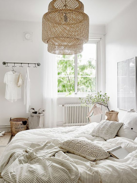 white bedroom from ikealove that lampshade