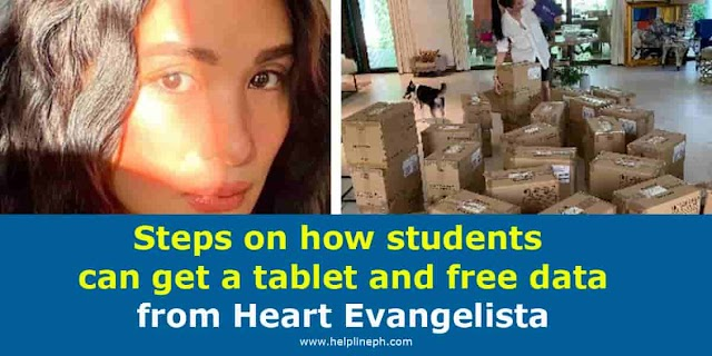 Steps on how students can get a tablet and free data from Heart Evangelista
