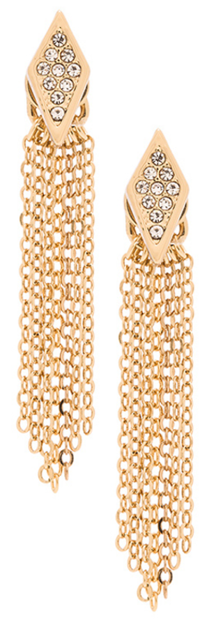REBECCA MINKOFF PAVE FRINGE EARRINGS