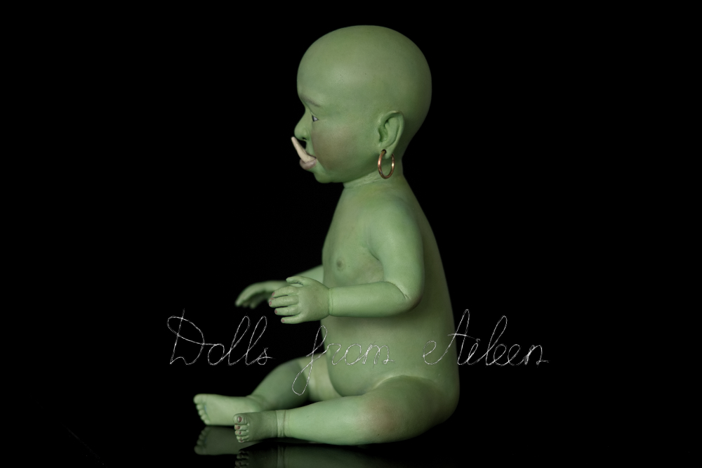 ooak artist baby orc doll nude, view from side