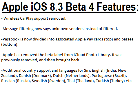 Apple iOS 8.3 Beta 4 Features and Changes