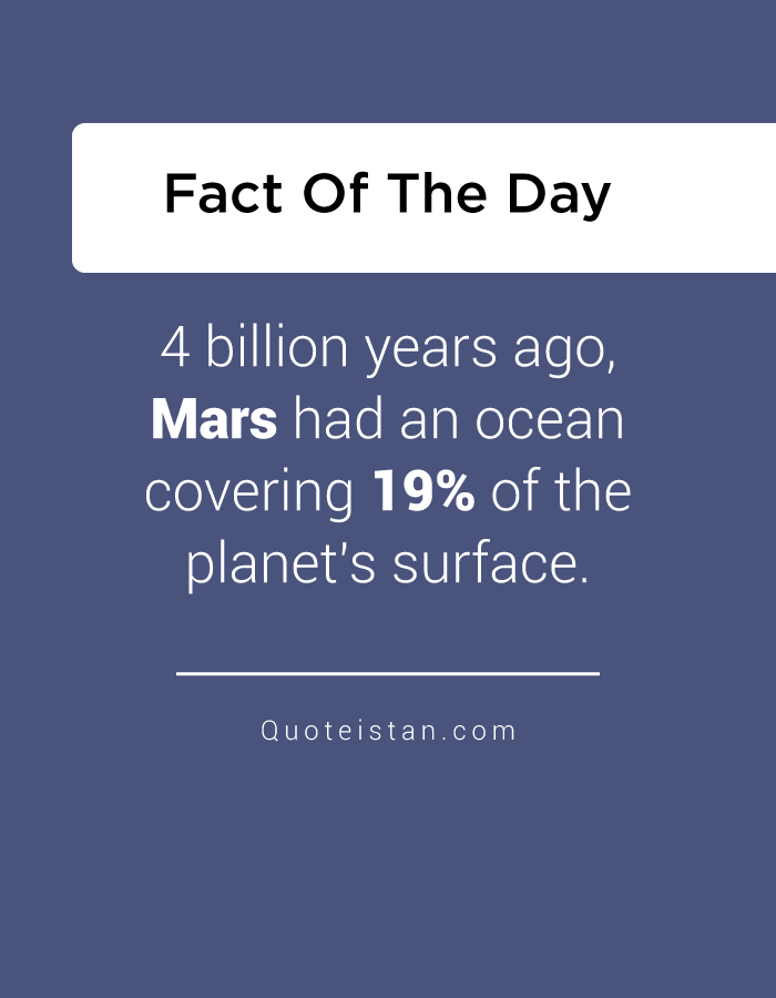 4 billion years ago, Mars had an ocean covering 19% of the planet's surface.