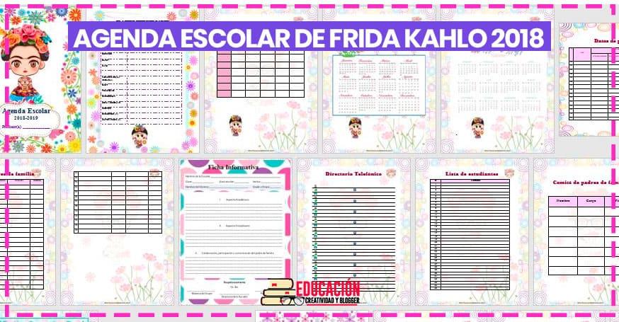Agenda escolar 2018/2019 para imprimir de Frida K.