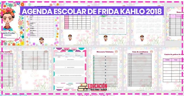 ▷ Agenda escolar 2018/2019 para imprimir de Frida K.【gratis】