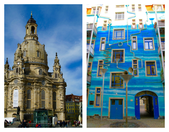 "The Frauenkirche (left) and Kuntshofpassage – Dresden's ""art corridor"" (right)."