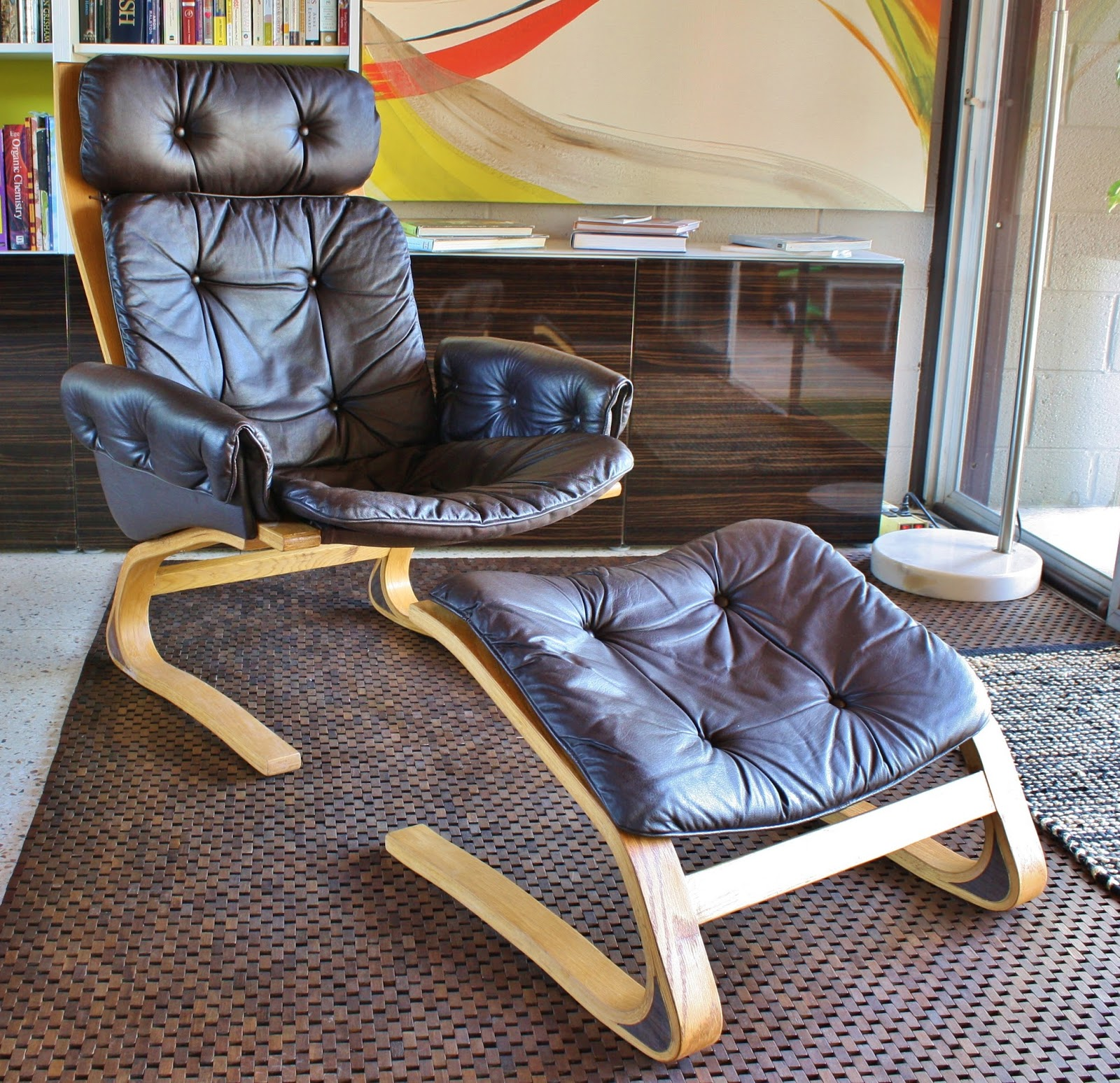 Modwerks vintage rybo kengu leather lounge chair and footstool - Selig z chair reproduction ...