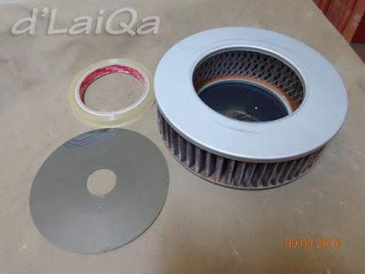 isi disket, filter udara mobil dan selotip
