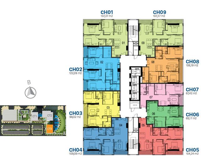 Mặt bằng thiết kế tầng căn hộ điển hình tòa CT3 Sunshine Riverside