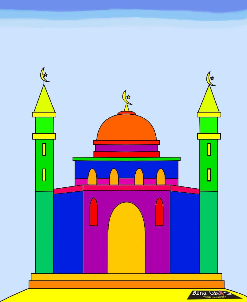 Dunia Belajar Gambar Mewarnai Anak Masjid