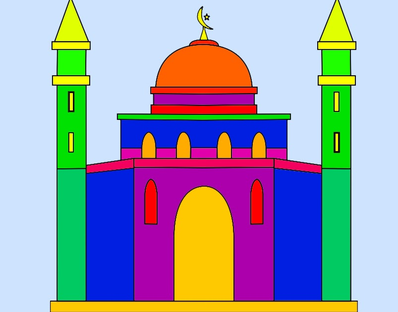 Hasil Mewarnai Gambar Masjid Mewarnai X