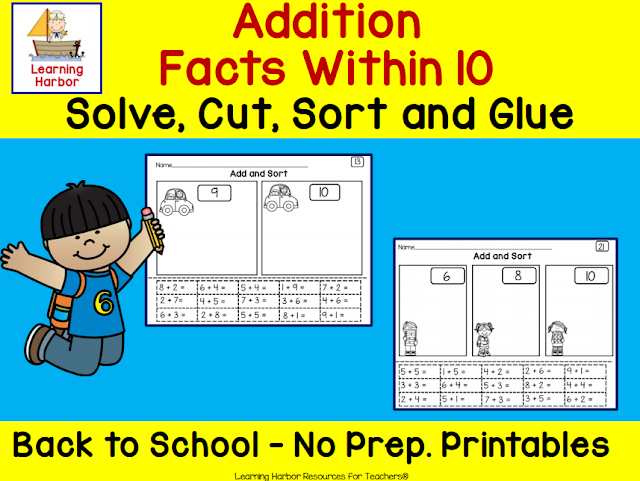 https://www.teacherspayteachers.com/Product/Addition-Within-10-Solve-Cut-Sort-and-Glue-Back-to-School-Theme-First-Grade-3825009