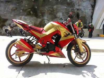 custom iron man motorcycle bike with masei ironman helmet wrist twisters. Black Bedroom Furniture Sets. Home Design Ideas