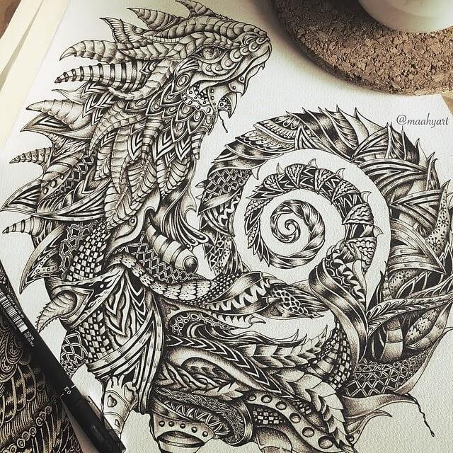 13-Lizard-Maahy-Drawings-Given-the-Zentangle-Treatment-www-designstack-co