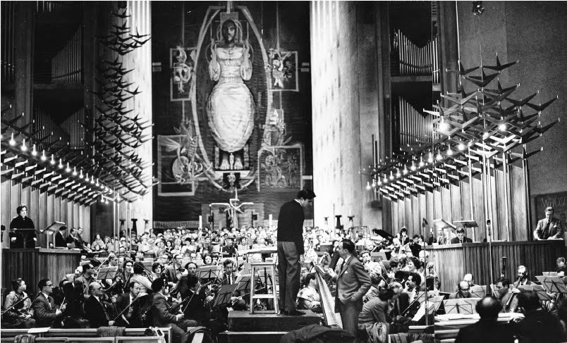 Britten at rehearsals for the premiere of the War Requiem at Coventry Cathedral
