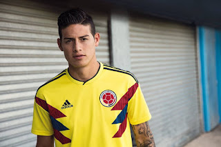 Colombia's James Rodríguez sporting that hair-line look. We're not buying it ...