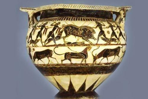 Αρχαίο Ελληνικό αγγείο του 560 π.κ.ε. απεικονίζεται η Αταλάντη και άλλοι ήρωες μαζί με τα κυνηγόσκυλά τους, κυνηγώντας τον περίφημο Καλυδώνιο Κάπρο. Πάνω στο αγγείο ο αγγειογράφος κατέγραψε τα ονόματα επτά σκύλων: Ορμένος, Μεθέπων, Εγέρτης, Κόραξ, Μάρψας, Λάβρος και Εύβολος.