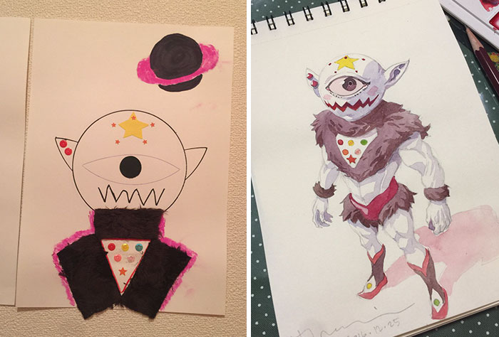 #7 Eye Monster - Dad Turns His Sons' Doodles Into Anime Characters, And The Result Is Amazing
