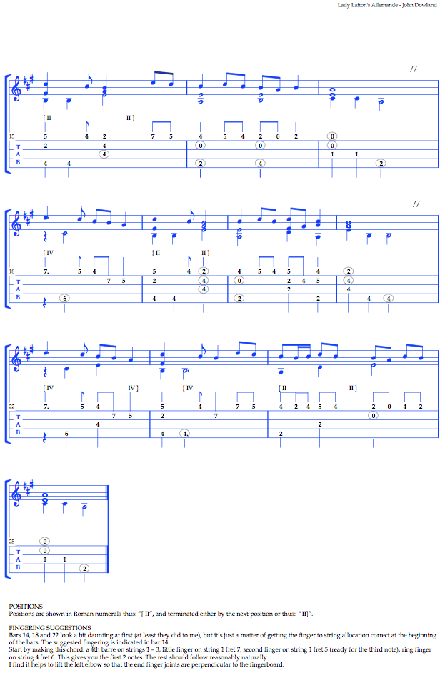 Music: John Dowland's allemande for lute, arranged for low G ukulele: tablature
