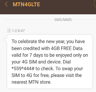 NEW YEAR GIFT: -MTN now Giving Free 4GB of Data