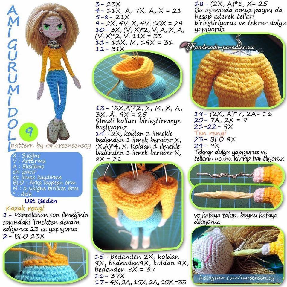 Амигуруми. Куколка Модница крючком (5)