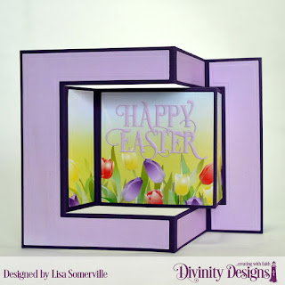 Divinity Designs Custom Dies: Tri-Fold Card with Layers, Happy Easter Caps, Paper Collection: Spring Flowers 2019