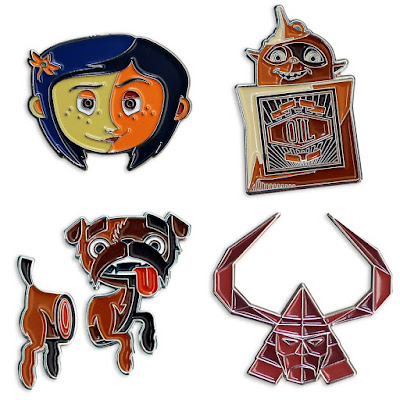 LAIKA 10th Anniversary Enamel Pin Series by Tom Whalen & Mondo - Coraline, ParaNorman's Bub the Ghost Dog, The Boxtrolls' Oil Can & Kubo and the Two Strings' Little Hanzo
