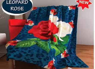 Selimut Kintakun Flannel Leopard Rose