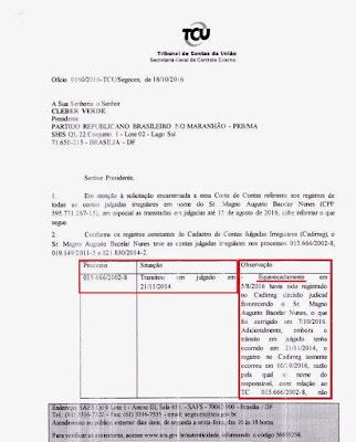 Chapadinha, eleições 2016: TCU reconhece Bacelar como ficha-suja