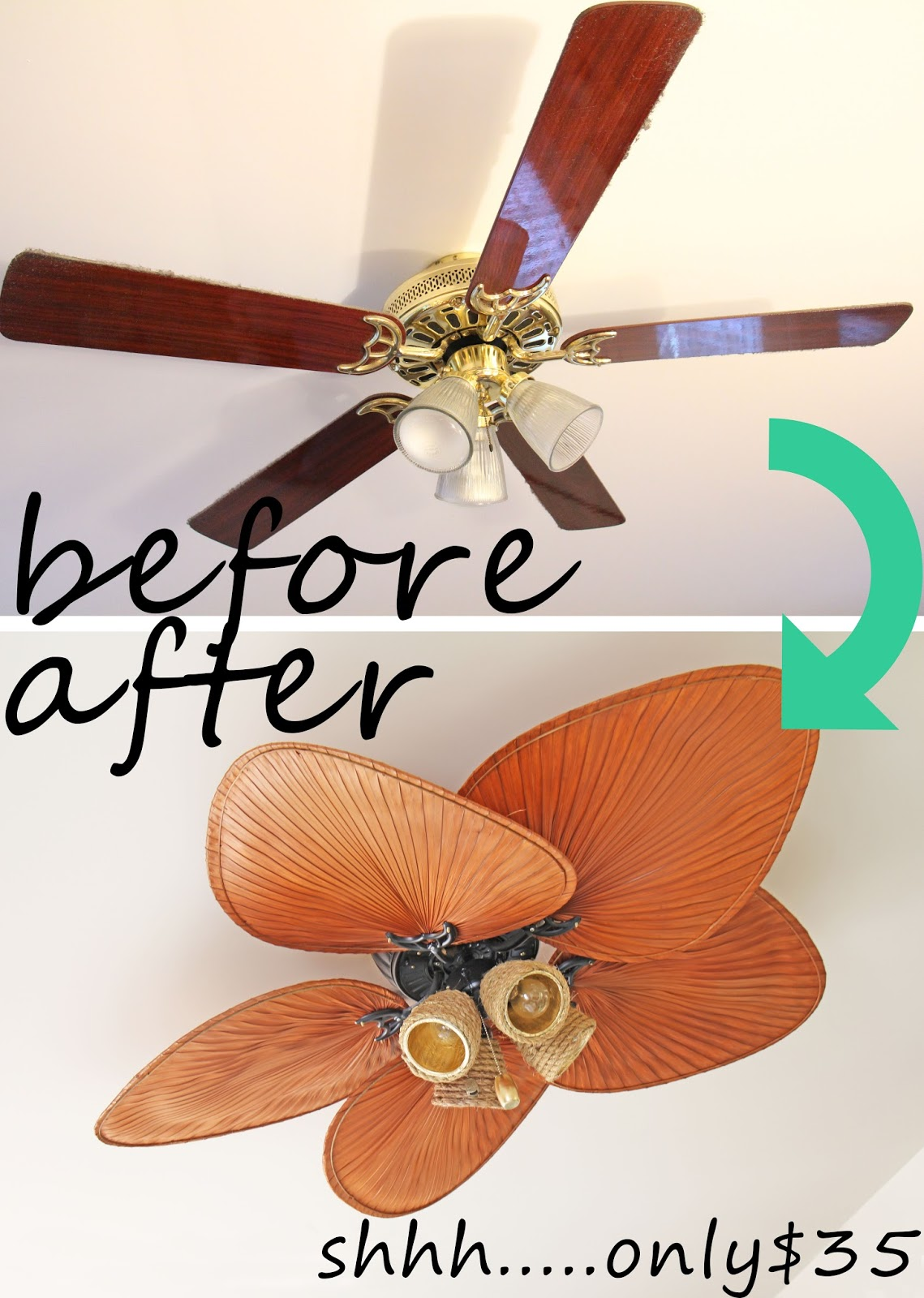 Grosgrain Crazy Amazing Ugly Ceiling Fan $35 Makeover