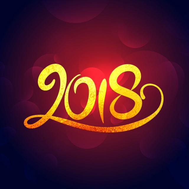 2018 new year golden swirl text effect design free vector