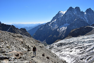 Hiking along Glacier Blanc in the Ecrins National Park in the Alps of France